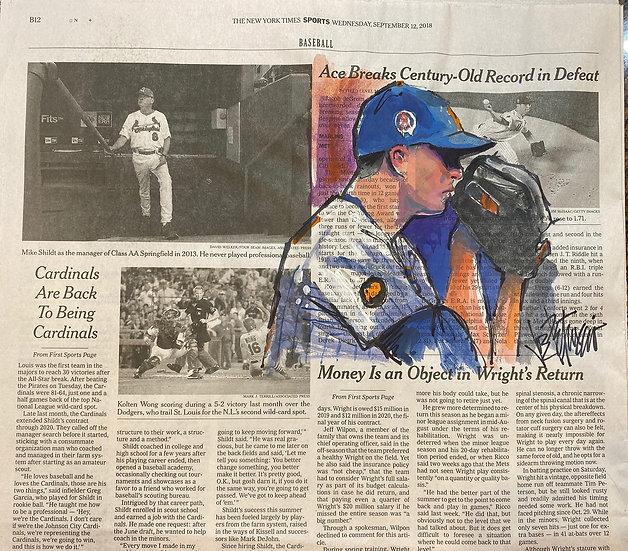 ACE Jacob deGrom New York METS Original NY Times Art by Joe Petruccio