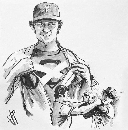 Bud Harrelson vs Pete Rose Original Watercolor Painting by Joe Petruccio