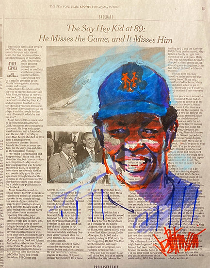 SAY HEY NEW YORK Willie Mays METS Original Art by Joe Petruccio