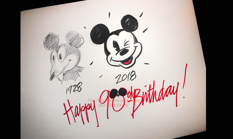 Mickey Turns 90 - Original Drawing by Joe Petruccio