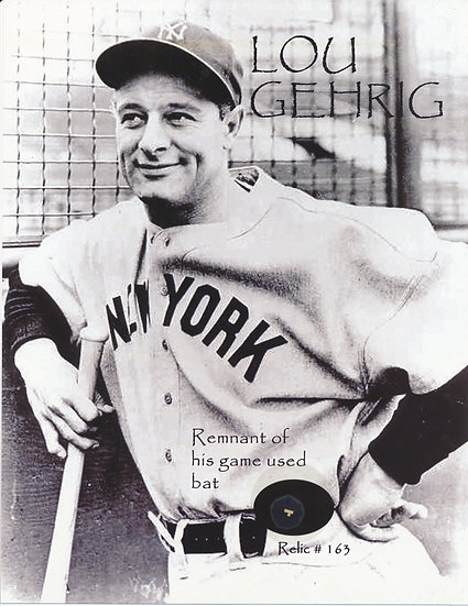 Todd Mueller Relic Card 163 - Lou Gehrig Game Used Baseball Bat