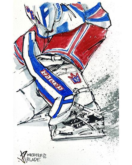 05 BLADE Original Ink on Paper by Joe Petruccio NY RANGERS