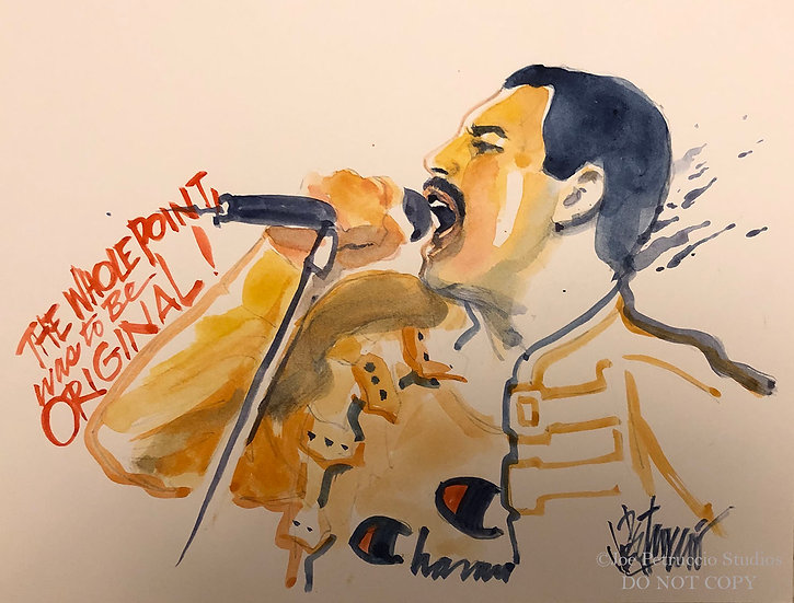Freddie Mercury THE ORIGINAL Watercolor by Joe Petruccio