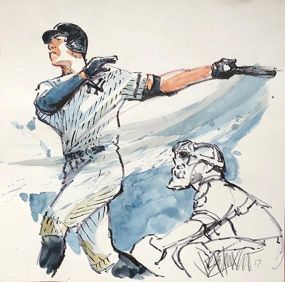 JUDGE Original NY Yankees Aaron Judge Watercolor by Joe Petruccio
