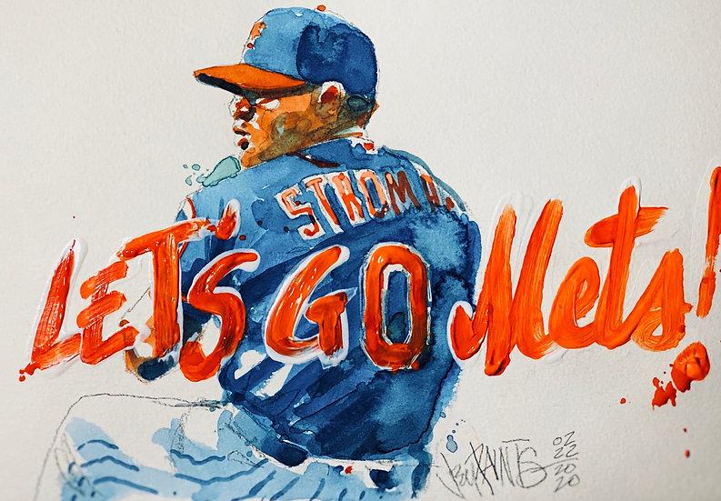 LET'S STRO METS 2020 Original Watercolor Ian Strom by Joe Petruccio
