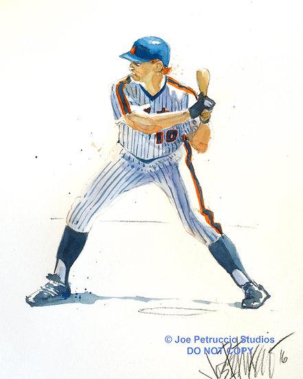 eveREDy Rusty Staub NY METS Original Watercolor by Joe Petruccio