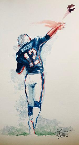 LETTING IT LOOSE Tom Brady Patriots Original Watercolor by Joe Petruccio