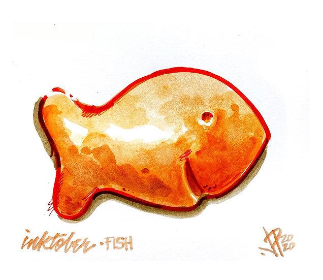 01 FISH Original Ink on Paper by Joe Petruccio Pepperidge Farm Goldfish