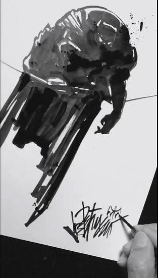 26 DARK Original Ink on Paper by Joe Petruccio - The Dark Knight