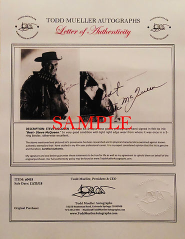 todd muller letter of authenticity, largest entertainment memorabilia seller in the world, guaranteed genuine, how to get authenticated signature, we buy vintage musical instruments played by rock stars, costumes and wardrobe, literature, artists, sports, entertainment, I want to authenticate my autograph online