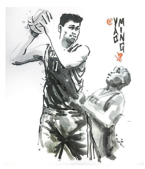 14 OVERGROWN Original Ink on Paper by Joe Petruccio - Yao Ming Houston Rockets