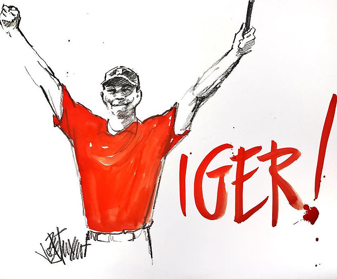 Tiger Woods VICTORY Original Fine Art Watercolor by Joe Petruccio