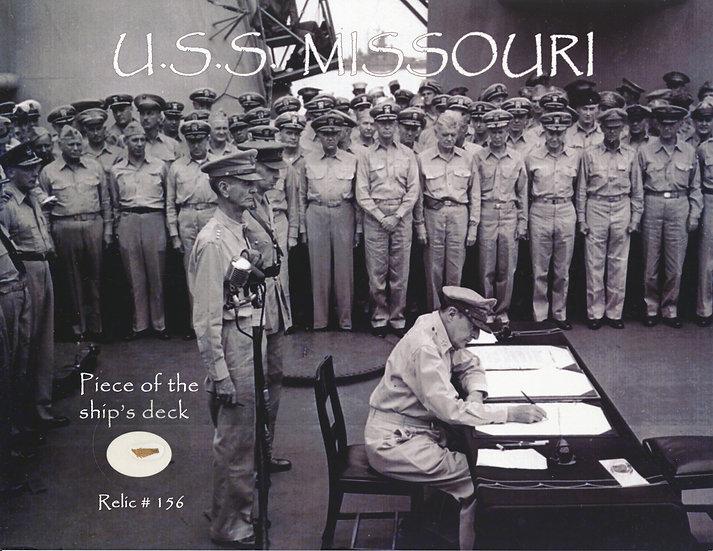 Todd Mueller Relic Card 156 - USS Missouri Japanese Surrender