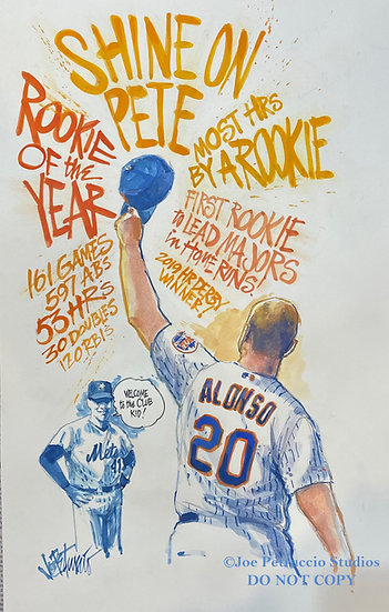 ROOKIE OF THE YEAR Pete Alonso METS Original NY TIMES Art by Joe Petruccio