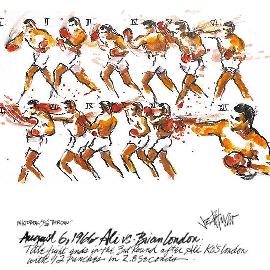 09 THROW Original Ink on Paper by Joe Petruccio MUHAMMAD ALI