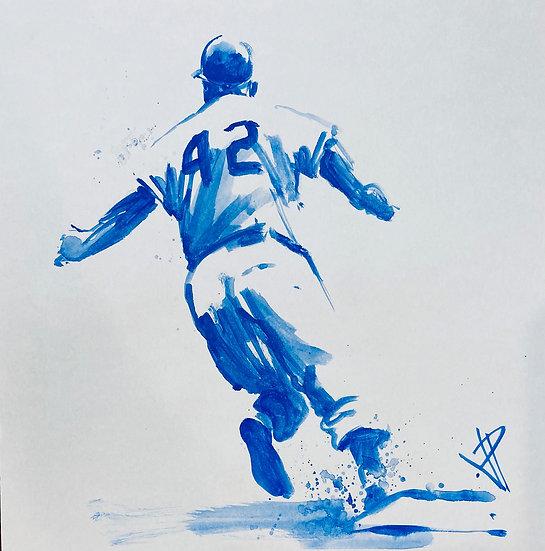 42 Jackie Robinson Original Watercolor by Joe Petruccio