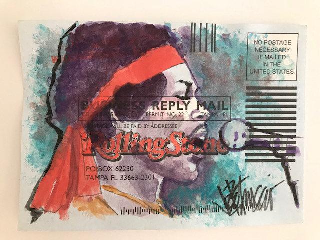 Jimi Hendrix - a Tribute Original Fine Art Watercolor on Subscription Card