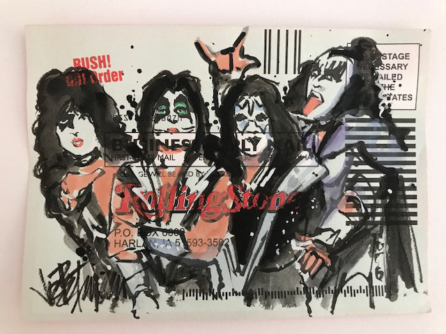 KISS - Original Fine Art Watercolor on Subscription Card