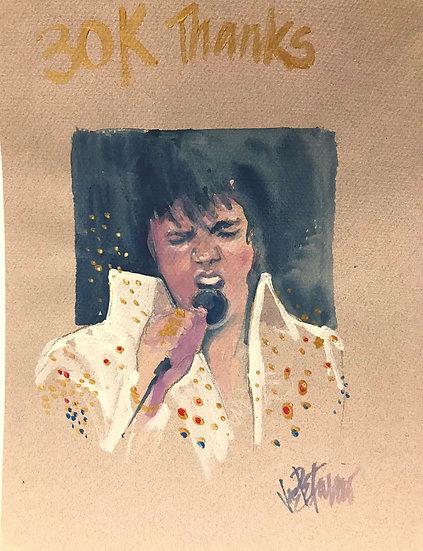 Elvis Presley - FAN FAVORITE Original Watercolor on Paper