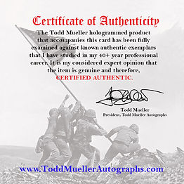 Todd Mueller certificate of Authenticity, We buy vintage, modern materials, U.S. Presidents, authors, letters, documents, awards, props from film and television