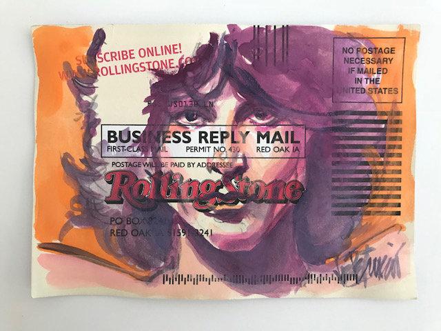 Jim Morrison - a Tribute Original Watercolor on Subscription Card