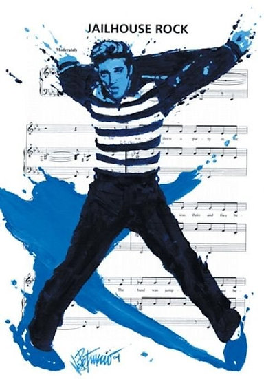 Elvis Presley JAILHOUSE ROCK Limited Edition Fine Art on Sheet Music