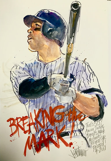 BREAKING THE MARK Aaron Judge Yankees Original Watercolor by Joe Petruccio