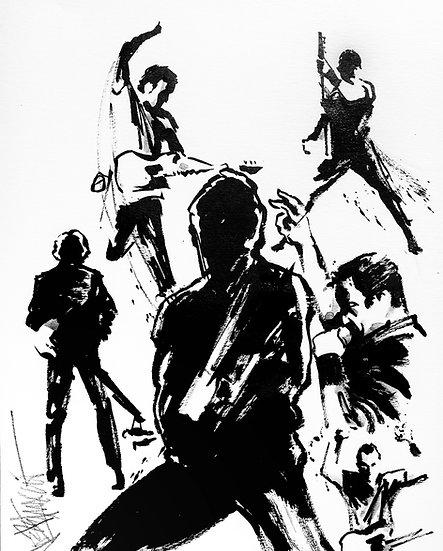 Bruce Springsteen DARKNESS ON THE EDGE Original Ink by Joe Petruccio