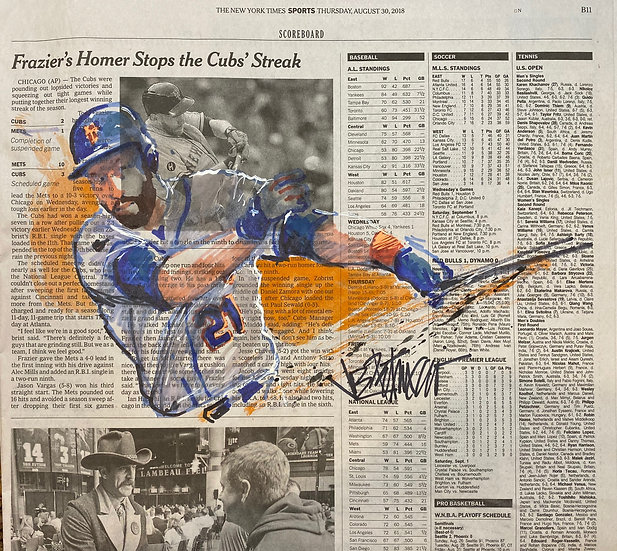 HOMER STOPS THE CUBS Todd Frazier METS Original NY Times by Joe Petruccio