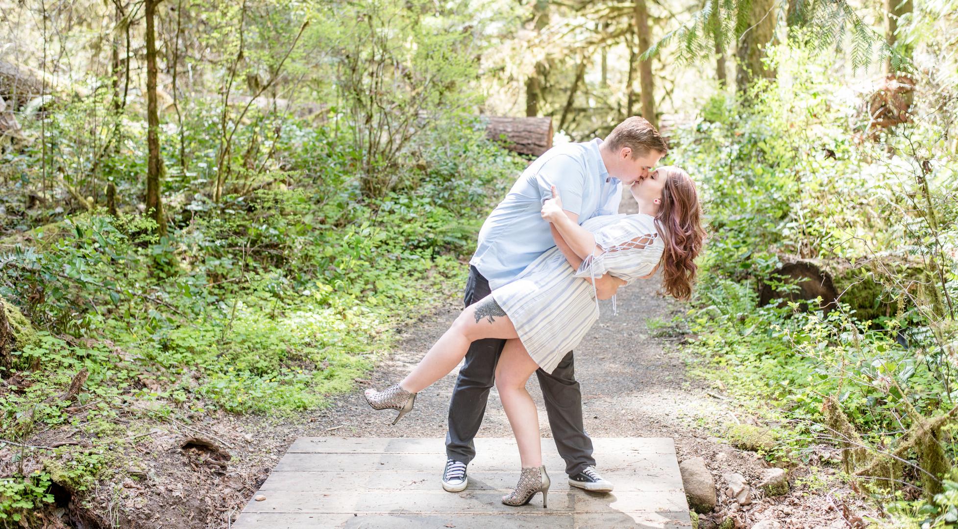 Dip kiss at Wolf Creek Falls