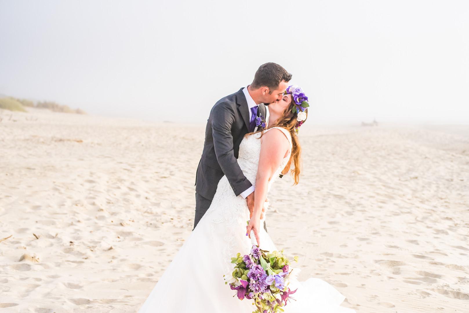 Bride and groom at Heceta Beach
