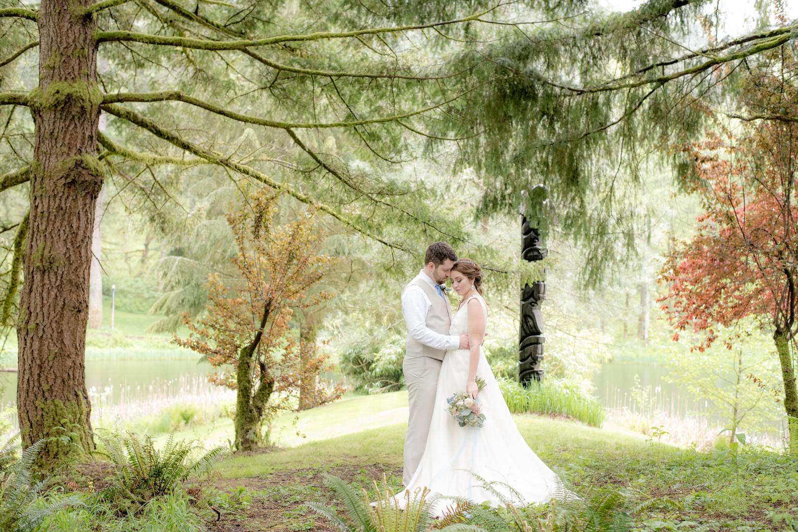 Bride and groom portraits at Bridal Veil Lakes