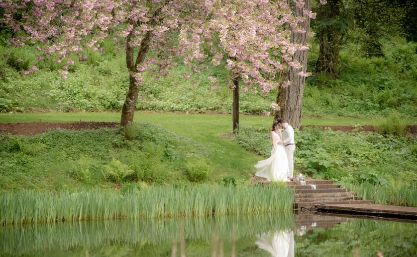 Bride and groom at Bridal Veil Lakes