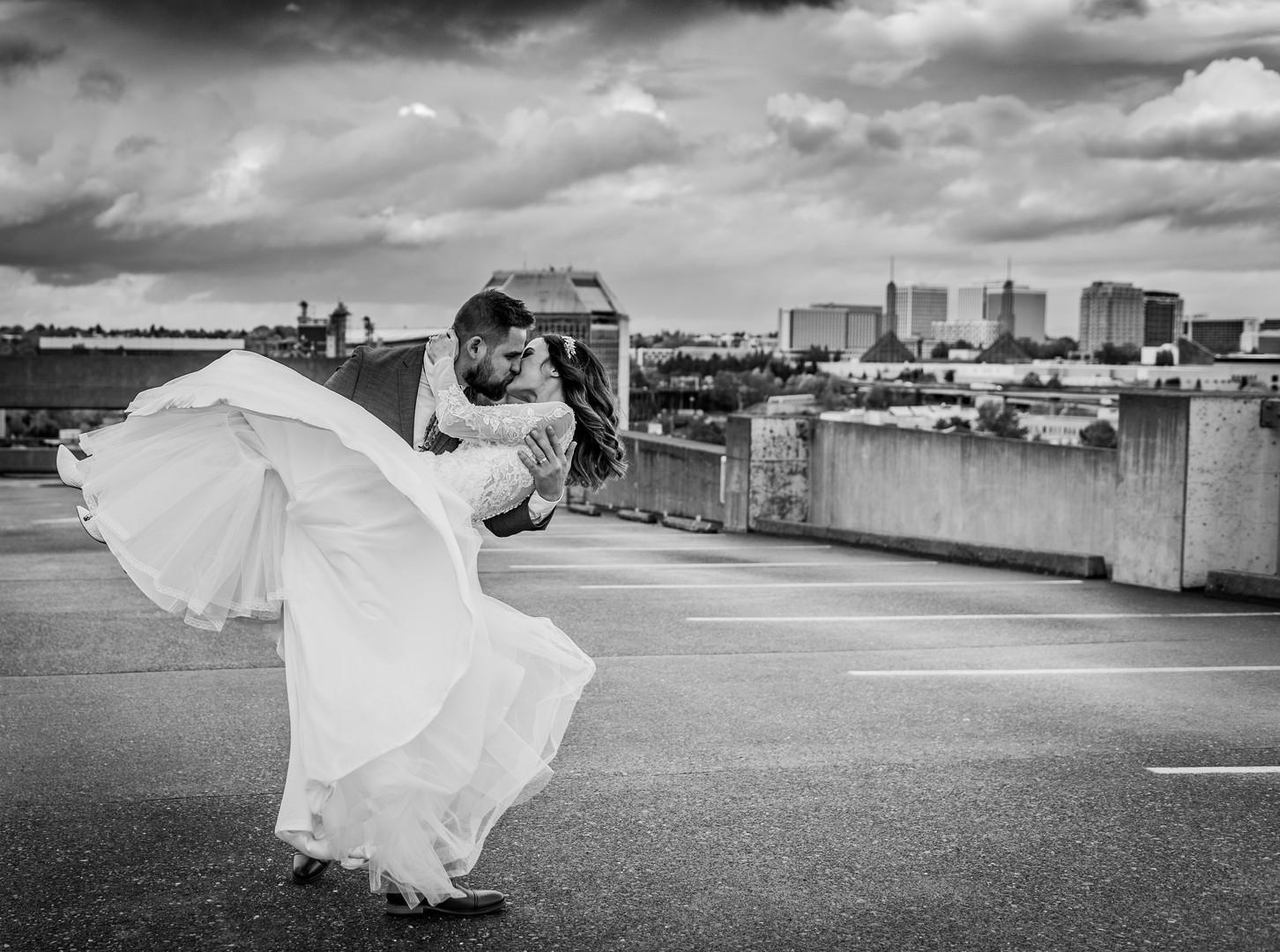 groom spinning bride