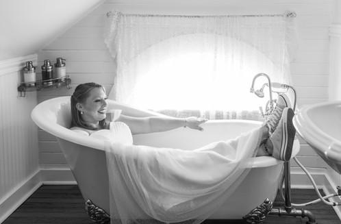 bride in claw foot tub