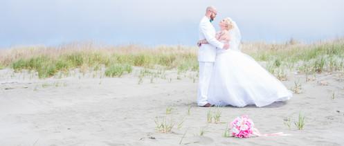 Bride and groom at Ocean Shores, Washington