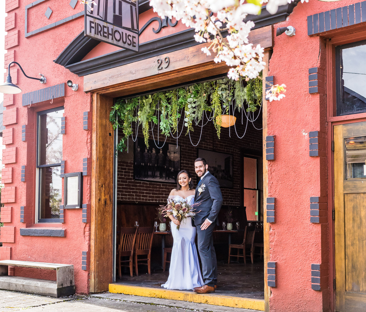 Bride and Groom portrait at Firehouse Restaurant