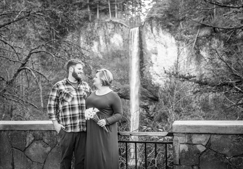 Latourell falls couple portrait