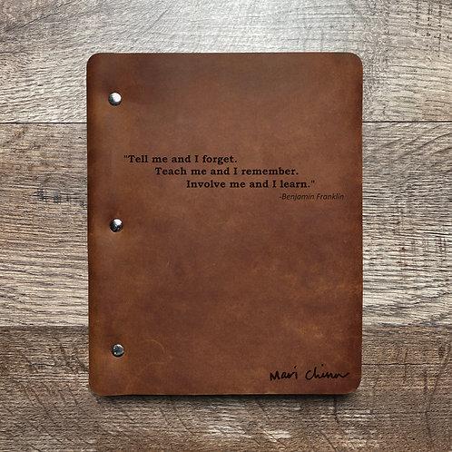 Custom Order Ed G - Slim Cut - Refillable Leather Binder 20201208
