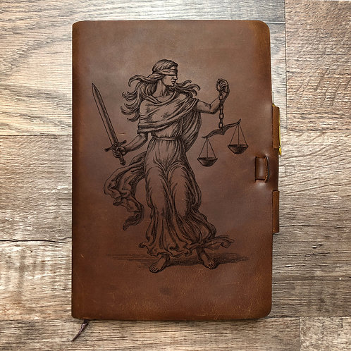 Custom Order Lady Justice - Classic Cut - Refillable Leather Journal 20210216