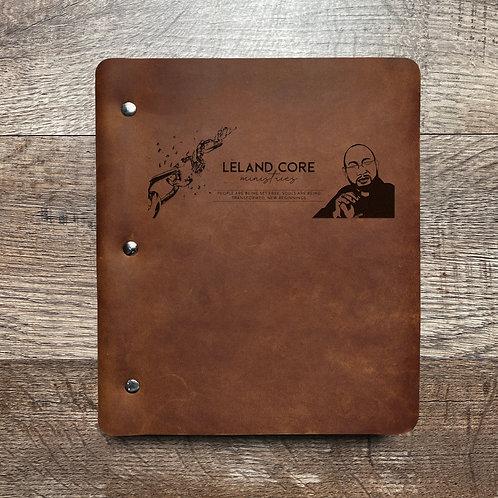 Custom Order Leland C - Wide Cut - Refillable Leather Binder 20210122