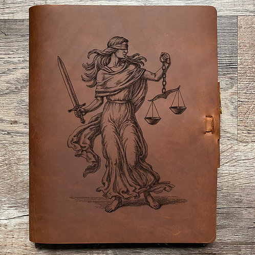 Lady Justice - Composition Cut - Refillable Leather Journal 20210222