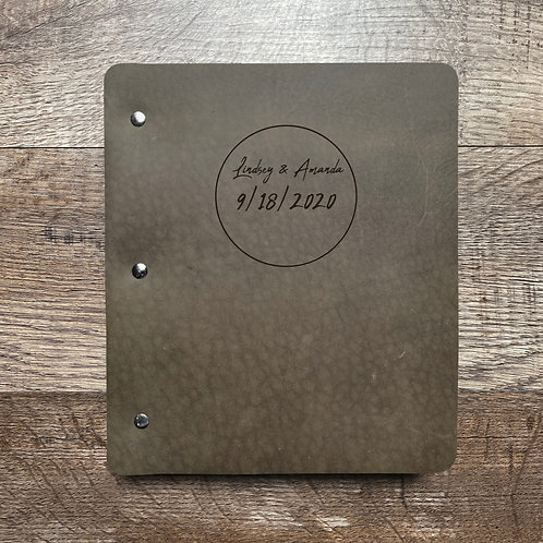 Custom Order Jeremy T - Wide Cut - Refillable Leather Binder 20200909