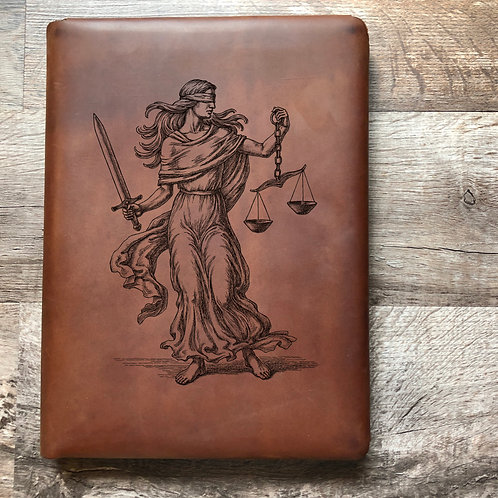 Custom Order Lady Justice - Executive Cut - Refillable Leather Folio 20210216