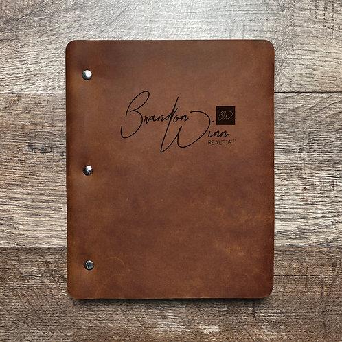 Custom Order Brandon W - Slim Cut - Refillable Leather Binder 20210208