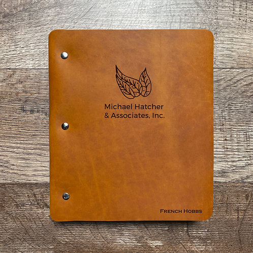 Custom Order French H - Wide Cut - Refillable Leather Binder 20201202