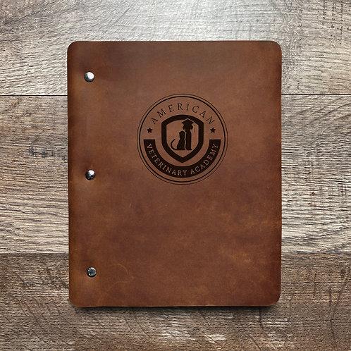 Custom Order Kevin P - Slim Cut - Refillable Leather Binder - Vet Academy W/ PEN