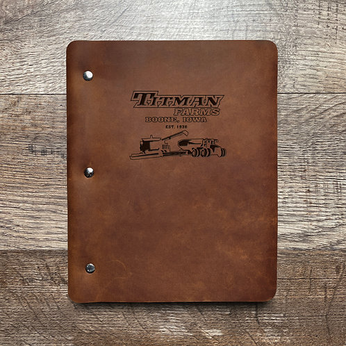 Custom Order Ryan T - Slim Cut - Refillable Leather Binder 20201013 farm