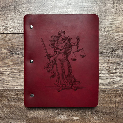 Custom Order Lady Justice - Slim Cut - Refillable Leather Binder 20210210