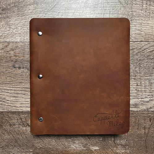 Custom Order Mickey M - Wide Cut - Refillable Leather Binder 20210205